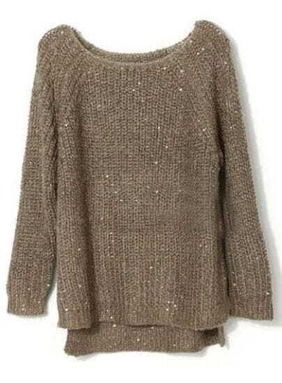 Coffee Raglan Sleeve Sequined Chunky Sweater