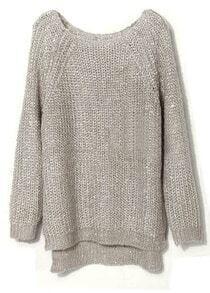 Light Grey Raglan Sleeve Sequined Chunky Sweater