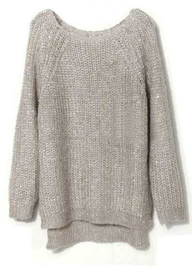 Light Grey Raglan Sleeve Sequined Chunky Sweater