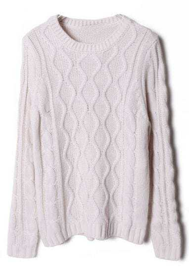White Long Sleeve Diamond Patterned Sweater