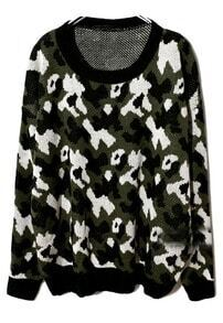 Green Long Sleeve Camouflage Knit Sweater