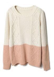 Beige Pink Diamond Patterned Knit Sweater