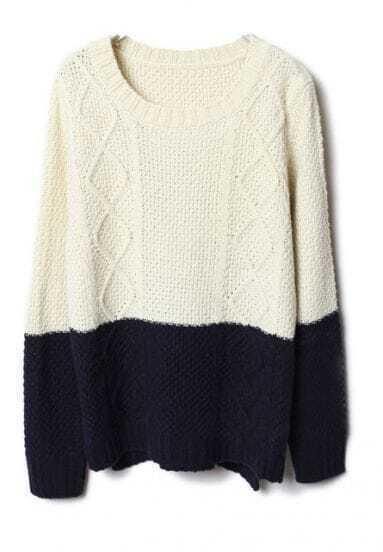 Beige Navy Diamond Patterned Knit Sweater