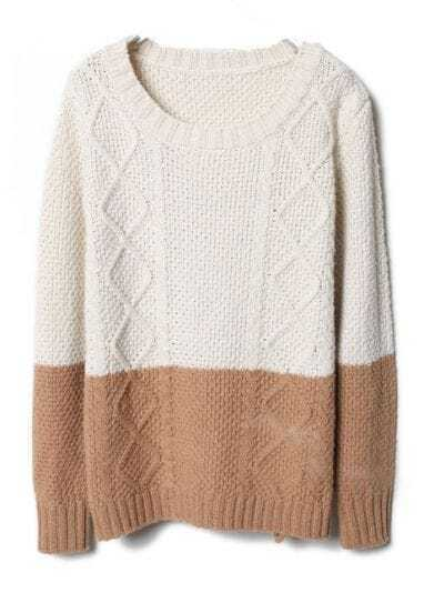 Beige Khaki Diamond Patterned Knit Sweater