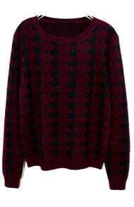Red Long Sleeve Houndstooth Knit Sweater