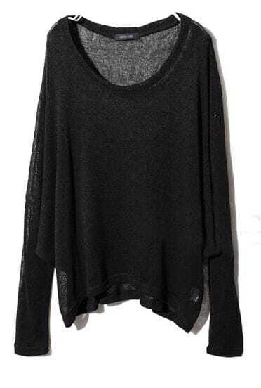 Black Long Sleeve Asymmetrical Pullover Sweater