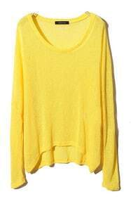 Yellow Long Sleeve Asymmetrical Pullover Sweater