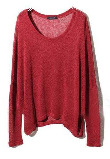 Wine Red Long Sleeve Asymmetrical Pullover Sweater