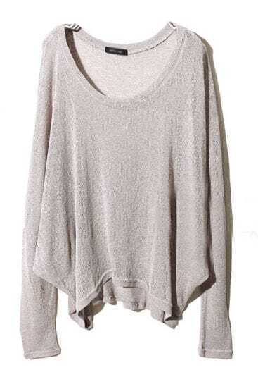Grey Long Sleeve Asymmetrical Pullover Sweater