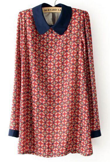Red Long Sleeve Circle Print Chiffon Dress