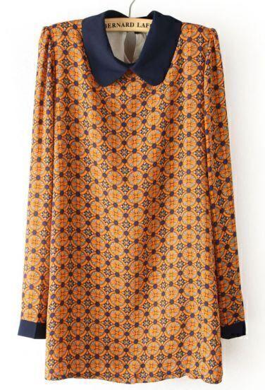 Orange Long Sleeve Circle Print Chiffon Dress