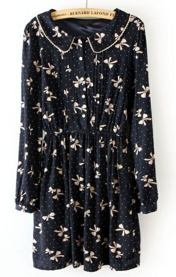Black Elastic Waist Dogs Print Pleated Dress