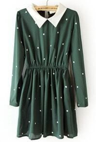 Green Contrast Collar Elastic Waist Polka Dot Dress