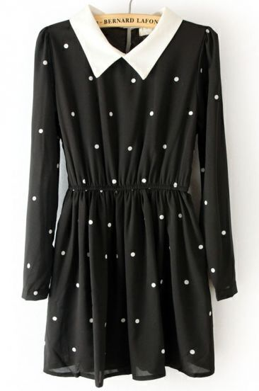 Black Contrast Collar Elastic Waist Polka Dot Dress