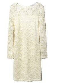 White Long Sleeve Embroidery Sheer Lace Dress