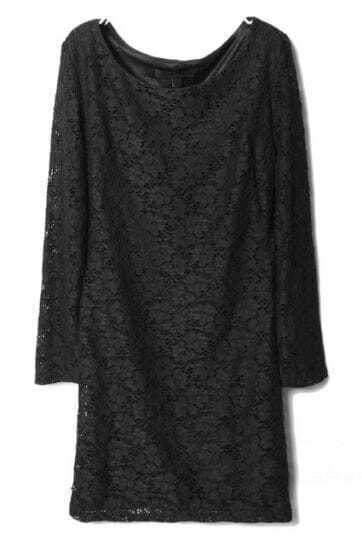 Black Long Sleeve Embroidery Sheer Lace Dress