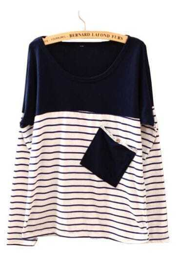Navy White Striped Pocket Loose Batwing T-Shirt