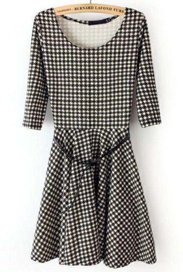 Black Round Neck Houndstooth Drawstring Dress