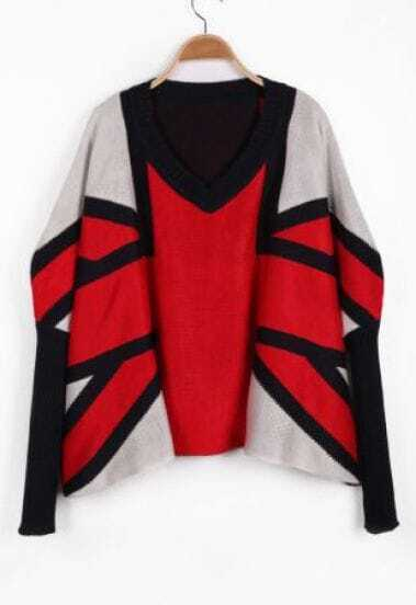 Black Red Long Sleeve Union Jack Pattern Sweater
