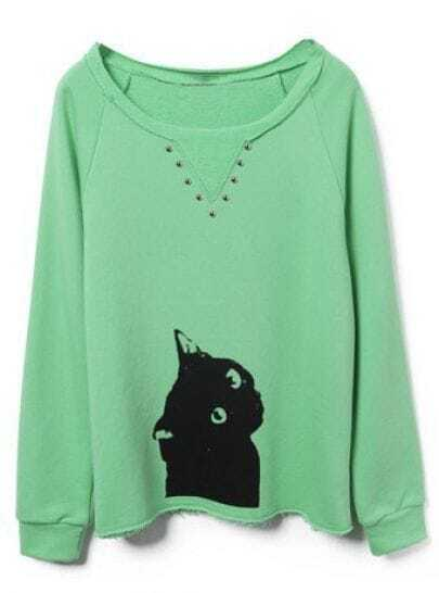 Green Cat Print Buttons Embellished Sweatshirt