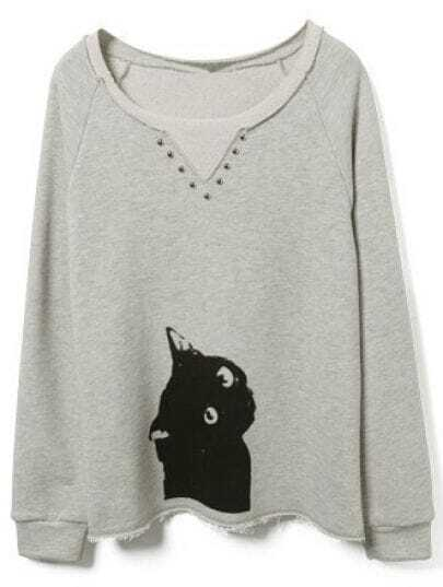 Grey Cat Print Buttons Embellished Sweatshirt