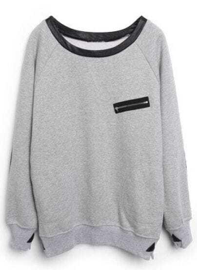 Grey Contrast Leather Zipper Pocket Sweatshirt