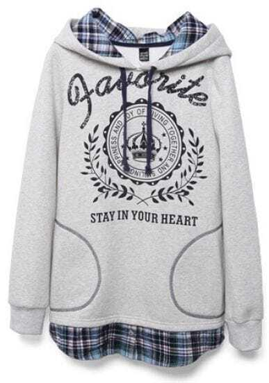 Grey Hooded Contrast Plaid Letters Print Sweatshirt