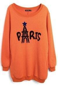 Orange Long Sleeve PARIS Print Loose Sweatshirt