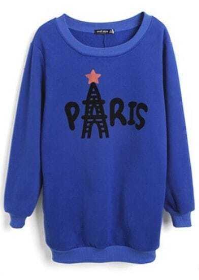 Blue Long Sleeve PARIS Print Loose Sweatshirt