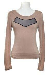 Coffee Long Sleeve Contrast Sheer Mesh Yoke T-Shirt
