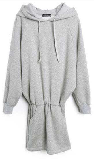 Grey Hooded Batwing Long Sleeve Elastic Dress
