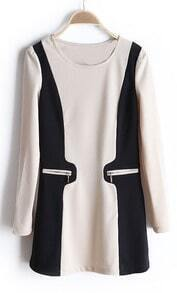 Beige Round Neck Long Sleeve Zipper Embellished Dress