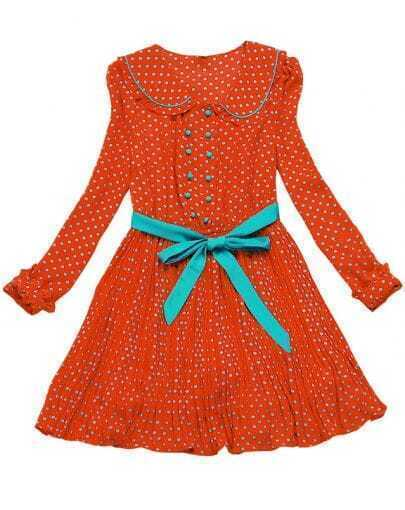 Orange Long Sleeve Polka Dot Ribbon Chiffon Dress