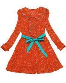 Orange Long Sleeve Polka Dot Ribbon Chiffon Dress