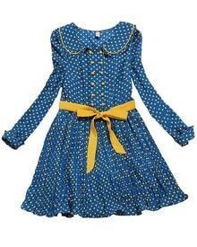 Blue Long Sleeve Polka Dot Ribbon Chiffon Dress