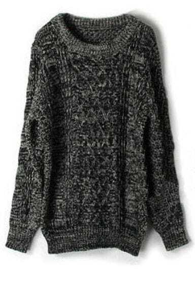 Dark Grey Fleck Long Sleeve Cable Knit Sweater -SheIn(Sheinside)
