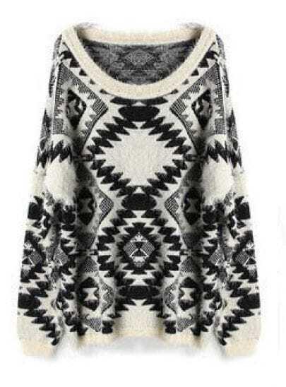 Black Diamond Patterned Batwing Long Sleeve Sweater