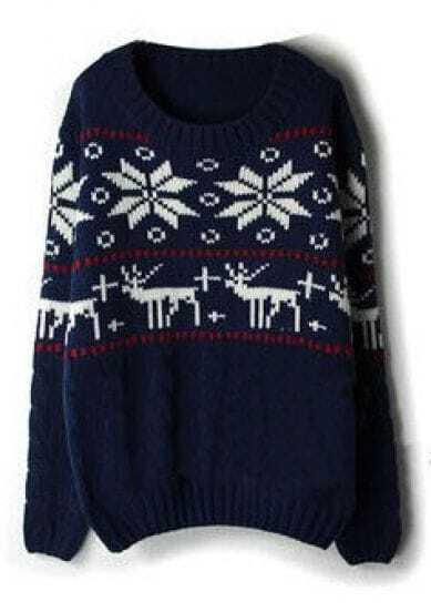 Navy Long Sleeve Deer Snowflake Pattern Sweater