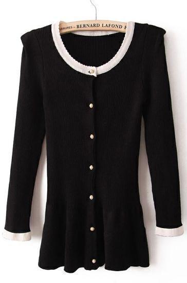Black Puff Sleeve Buttons Ruffles Blouse