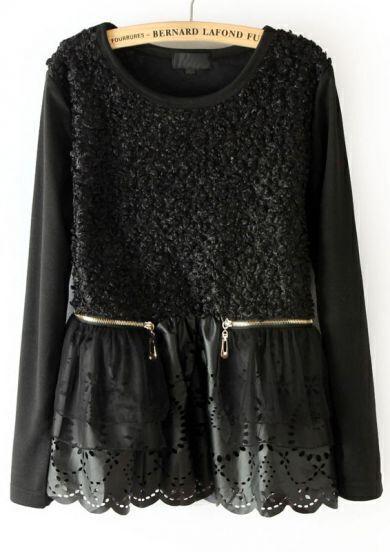 Black Long Sleeve Hollow Symmetry Zipper Blouse
