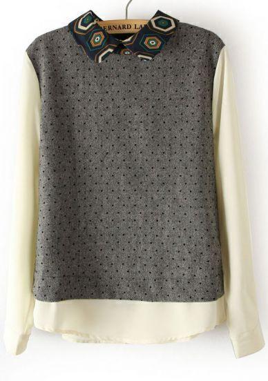 Grey Geometric Print Lapel Polka Dot Blouse