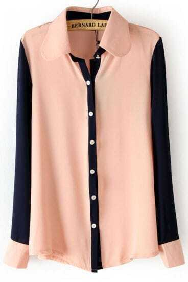 Pink Lapel Contrast Long Sleeve Chiffon Blouse