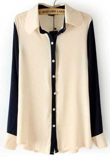 Beige Lapel Contrast Long Sleeve Chiffon Blouse