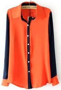 Orange Lapel Contrast Long Sleeve Chiffon Blouse