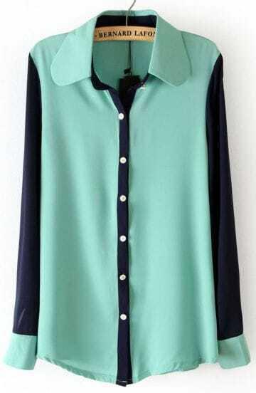 Mint Green Lapel Contrast Long Sleeve Chiffon Blouse