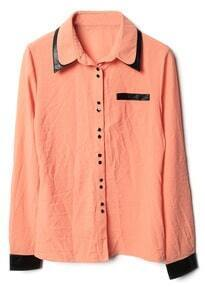 Orange Double Lapel Long Sleeve Pocket Blouse