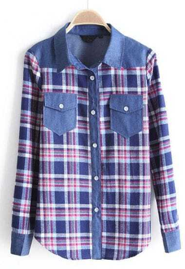 Blue Contrast Denim Plaid Pockets Blouse