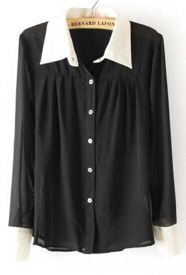Черная Блузка С Белым Воротником И Манжетами Купить