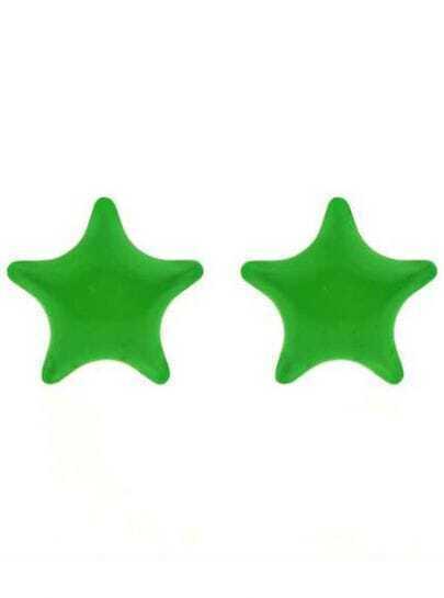 Green Star Stud Earrings