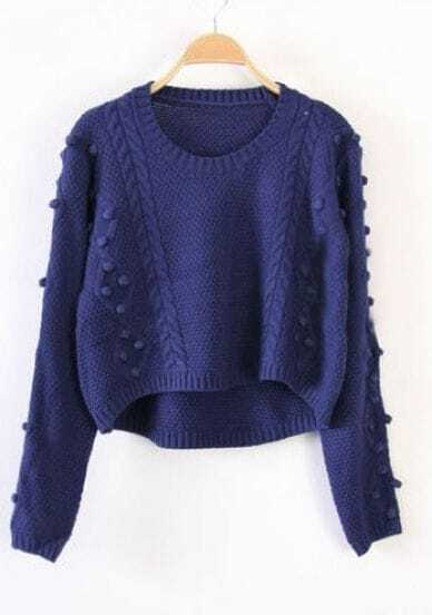 Blue Long Sleeve Fluff Chunky Crop Sweater
